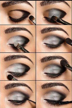 Пошаговое нанесение макияжа глаз в фотографиях