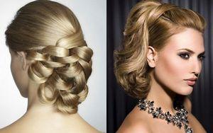 Праздничные прически для волос средней длины